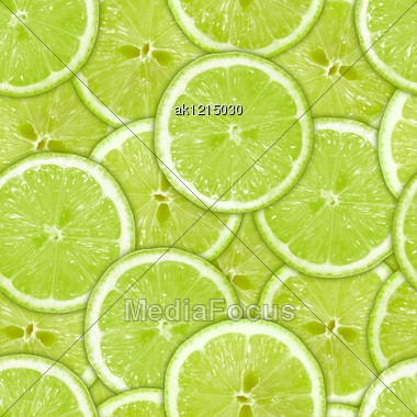 Abstract Background Of Heap Fresh Green Lime Slices. Seamless Pattern For Your Design. Close-up. Studio Photography. Stock Photo