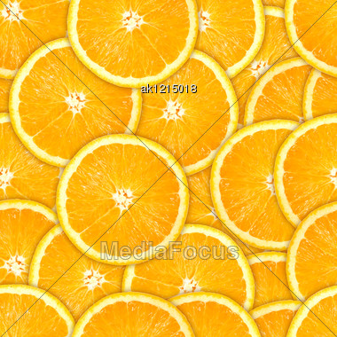 Abstract Background Of Heap Fresh Orange Slices. Seamless Pattern For Your Design. Close-up. Studio Photography. Stock Photo