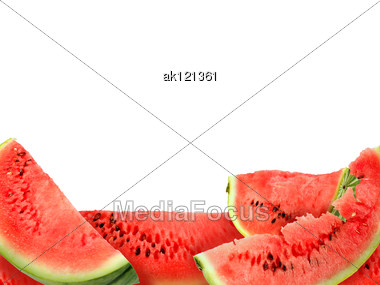 Abstract Background With Heap Of Fresh Red Watermelons Slices Close-up Studio Photography Stock Photo