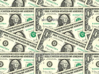 Abstract Background Of Money Pile 1 USA Dollars Bills For Your Design. Studio Photography. Stock Photo