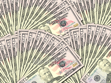 Abstract Background Of Money Pile 50 USA Dollars Bills For Your Design. Studio Photography. Stock Photo