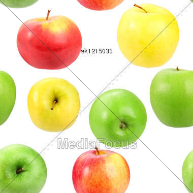 Abstract Background With Motley Fresh Apples Seamless Pattern For Your Design Close-up Studio Photography Stock Photo