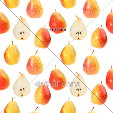 Abstract Background With Orange Fresh Pears Seamless Pattern For Your Design Close-up Studio Photography Stock Photo