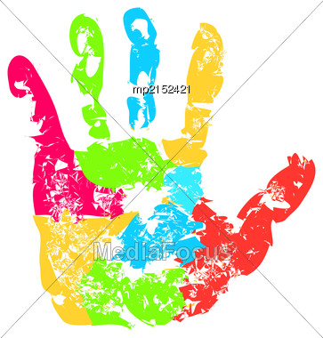 Abstract Background, Prints Of Hands Of The Child, Vector Illustration Stock Photo