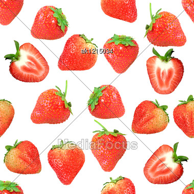 Abstract Background With Red Fresh Strawberryes Seamless Pattern For Your Design Close-up Studio Photography Stock Photo