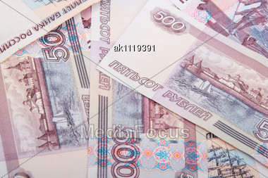 Abstract Background Of Russian Banknotes. New Condition. Close-up. Studio Photography Stock Photo