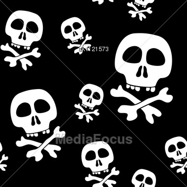 Abstract Background With Skulls. Seamless Pattern. Stock Photo