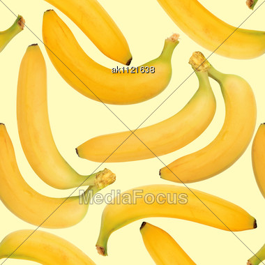 Abstract Background Of Yellow Bananas. Seamless Pattern. Close-up. Studio Photography Stock Photo