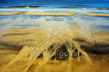 Abstract In Beach Rio De La Plata Colonia Del Sacramento Uruguay Stock Photo
