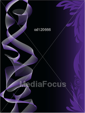 Abstract Black Background With Purple Smoke And Floral Elements Stock Photo