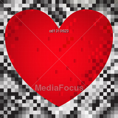 Abstract Black And Gray Background Of The Squares With Red Heart Stock Photo