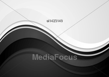 Abstract Black Waves Vector Background Stock Photo