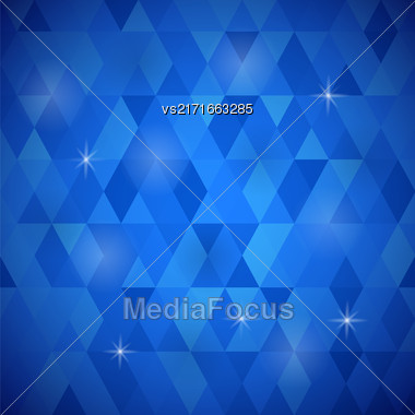Abstract Blue Background. Blue Geometric Retro Mosaic Pattern Stock Photo