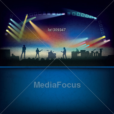 Abstract Blue Background With Music Stage And Rock Group Stock Photo