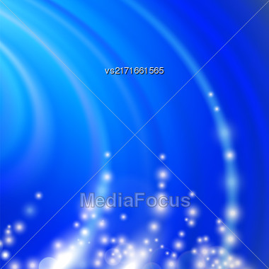 Abstract Blue Blurred Wave Background With Light Particles Stock Photo