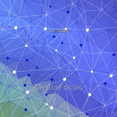 Abstract Blue Triangle Background. Modern Mosaic Pattern. Template Design For Banner, Poster Stock Photo
