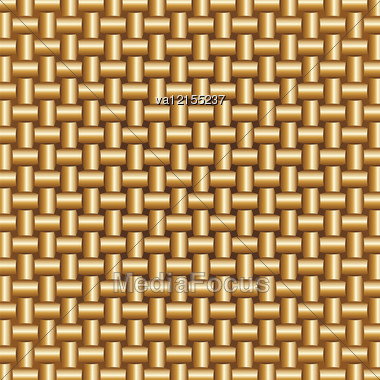 Abstract Braided Golden Colors Pattern, Vector Illustration. Stock Photo