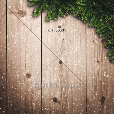 Abstract Christmas Backgrounds With Noel Decorations And Old Wooden Desk Stock Photo