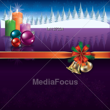 Abstract Christmas Purple Greeting With Decorations And Candles Stock Photo