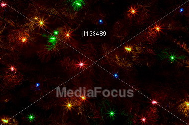 Abstract Of A Christmas Tree With It's Light On Stock Photo