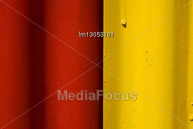 Abstract Colored Red And Yellow Iron Metal Sheet In La Boca Buenos Aires Argentina Stock Photo