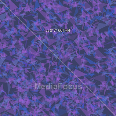 Abstract Colored Transparent Triangles Seamless Pattern On Blue Background Stock Photo