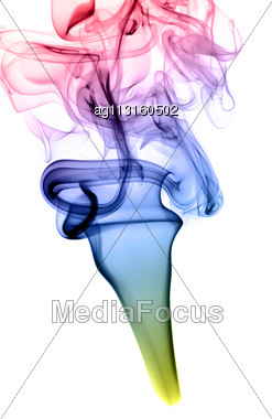 Abstract Colorful Fume Shape Over The White Background Stock Photo