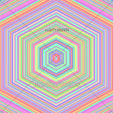 Abstract Colorful Hexagonal Background. Colorful Line Pattern Stock Photo