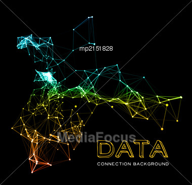 Abstract Colorful Network Data Connection. Vector Technology Background On Black Stock Photo