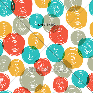 Abstract Colorful Retro Seamless Pattern (balls Doodles). Vector, EPS10 Stock Photo