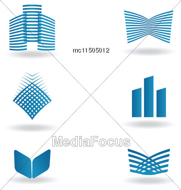 Abstract Construction Or Real Estate Company Logo Design. Vector Icon With Buildings And Houses Stock Photo
