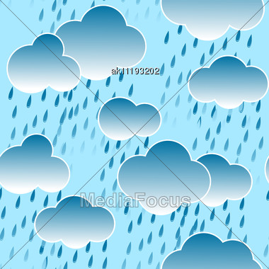 Abstract Dark Sky Background With Clouds And Rain Drops. Seamless Pattern. Stock Photo