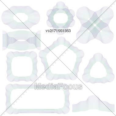 Abstract Decorative Wave Frames Isolated On White Background Stock Photo