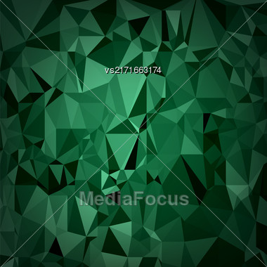 Abstract Digital Polygonal Green Background. Abstract Triangular Pattern Stock Photo