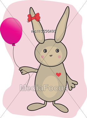 Abstract Easter Card With Cute Bunny Stock Photo
