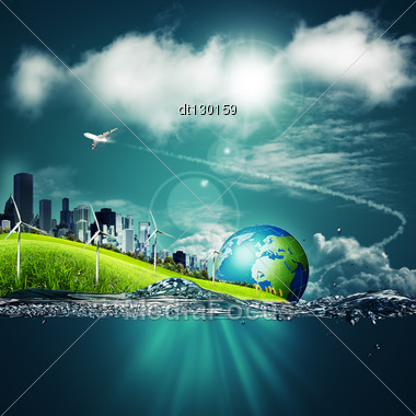 Abstract Ecosystem Backgrounds Under The Blue Skies For Your Design Stock Photo