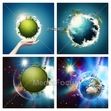 Abstract Environmental Backgrounds Set With Earth Globe For Your Design. NASA Imagery Used Stock Photo