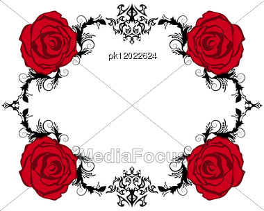 Abstract Floral Vector Frame Backgrounds In Victorian Style Stock Photo