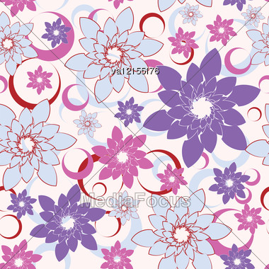 Abstract Flower Seamless Background, Vector Illustration. Stock Photo