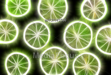 Abstract Fractal Rendered Lime On Black Background(as Wallpaper Or Backdrop Stock Photo