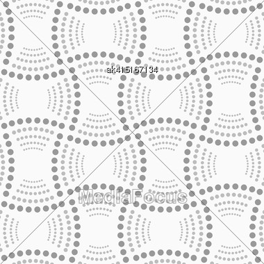 Abstract Geometric Background. Gray Seamless Pattern. Monochrome Texture.Dotted Rectangles With Dotted Arcs Stock Photo