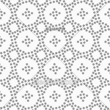Abstract Geometric Background. Gray Seamless Pattern. Monochrome Texture.Dotted Circles And Small Crosses Stock Photo