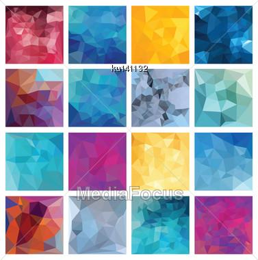 Abstract Geometric Background Set. Polygonal Vector Design Stock Photo