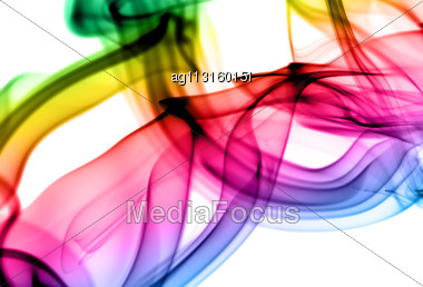 Abstract Gradient Fume Patterns Over The White Background Stock Photo