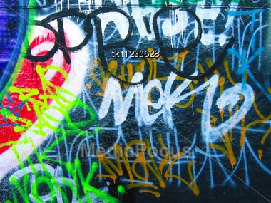 Abstract graffiti on wall Stock Photo