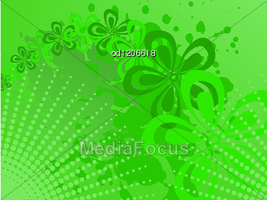 Abstract Green Background With Flowers And Spray Stock Photo