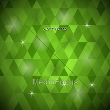 Abstract Green Background. Green Geometric Retro Mosaic Pattern Stock Photo