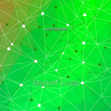 Abstract Green Triangle Background. Modern Mosaic Pattern. Template Design For Banner, Poster Stock Photo
