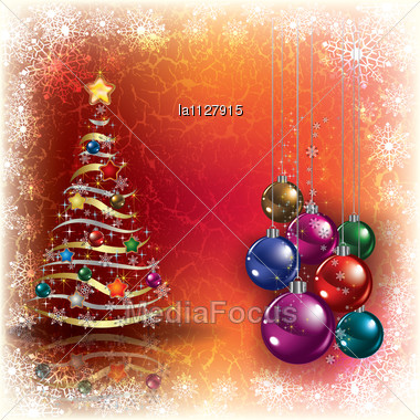 Abstract Grunge Background With Christmas Tree And Decorations Stock Photo