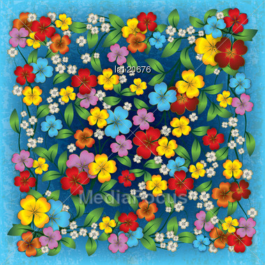 Wallpaper Abstract Grunge Blue Background With Color Spring Flowers ...